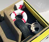 Amity Island Police equipment - life preserver, first aid kit, and rope