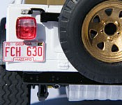Daisy's Jeep rear with FCH 630 Georgia license plate