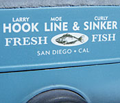The Three Stooges Ford Model A Hook, Line, & Sinker sign