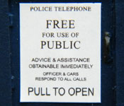 Dr. Who TARDIS sign detail
