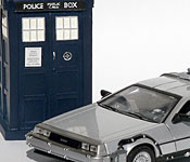 Doctor Who TARDIS with Back to the Future DeLorean