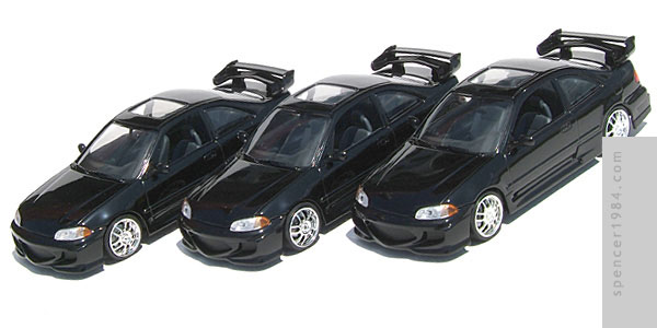 The Honda Civic Coupe trio from the movie The Fast and the Furious
